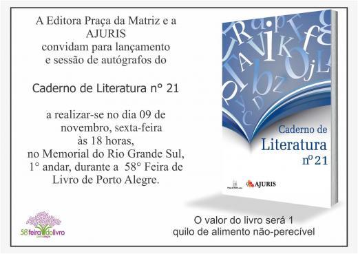 Lançamento do Caderno de Literatura Nº 21 da AJURIS